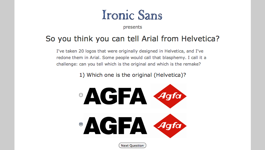 Ironic Sans  So you think you can tell Arial from Helvetica  Quiz