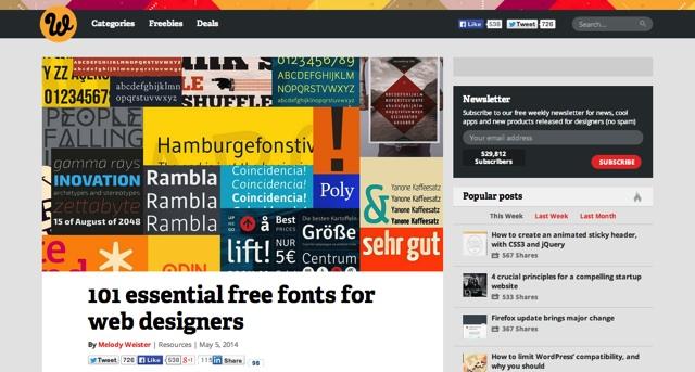 101 essential free fonts for web designers   Webdesigner Depot