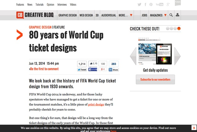 80 years of World Cup ticket designs   Graphic design   Creative Bloq