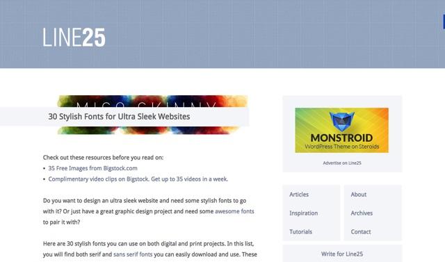 30 Stylish Fonts for Ultra Sleek Websites